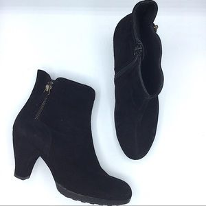 Paul Green Black Leather Suede Ankle Boots 5 Heel